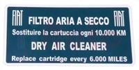 """Luftfilter Aufkleber """"Filtro aria a secco"""""""